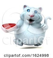 Poster, Art Print Of 3d White Kitty Cat On A White Background