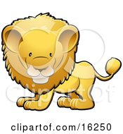 Adorable Golden Male Lion With A Big Mane Clipart Illustration