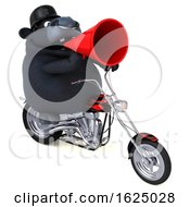 3d Black Bull Biker Riding A Chopper Motorcycle On A White Background by Julos