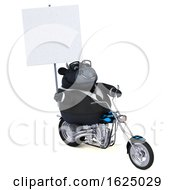 3d Black Business Bull Biker Riding A Chopper Motorcycle On A White Background by Julos