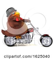 Poster, Art Print Of 3d Brown Chicken Biker Riding A Chopper Motorcycle On A White Background