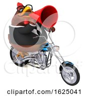 Poster, Art Print Of 3d Brown Business Chicken Biker Riding A Chopper Motorcycle On A White Background