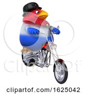 Poster, Art Print Of 3d Chubby French Chicken Riding A Chopper Motorcycle On A White Background
