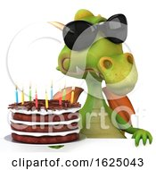 Poster, Art Print Of 3d Green Dragon On A White Background