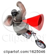 3d Elephant Biker Riding A Chopper Motorcycle On A White Background