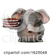 Poster, Art Print Of 3d Elephant Holding A Birthday Cake On A White Background