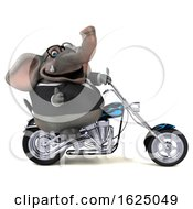 3d Business Elephant Biker Riding A Chopper Motorcycle On A White Background