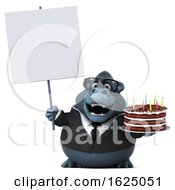 3d Business Gorilla Mascot Holding A Birthday Cake On A White Background by Julos