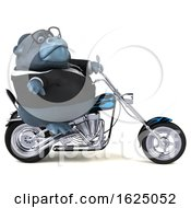 3d Business Gorilla Mascot Riding A Chopper Motorcycle On A White Background by Julos