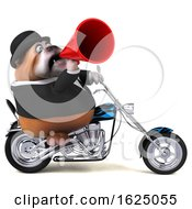 3d Gentleman Or Business Bulldog Biker Riding A Chopper Motorcycle On A White Background
