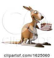 Poster, Art Print Of 3d Kangaroo Holding A Birthday Cake On A White Background