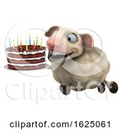 Poster, Art Print Of 3d Sheep Holding A Birthday Cake On A White Background