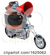 3d Business Orangutan Monkey Biker Riding A Chopper Motorcycle On A White Background by Julos