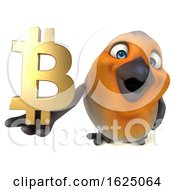 Poster, Art Print Of 3d Robin Bird Holding A Bitcoin Symbol On A White Background