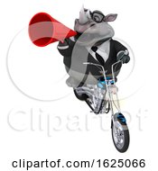 3d Business Rhinoceros Biker Riding A Chopper Motorcycle On A White Background