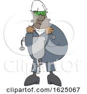 Cartoon Black Worker Man Carrying A Jackhammer