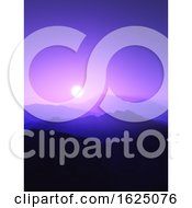 Poster, Art Print Of 3d Mountain Landscape At Sunset