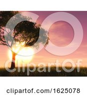 Poster, Art Print Of 3d Tree Against A Sunset Sky