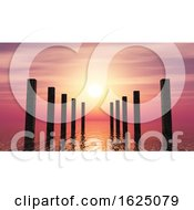 Poster, Art Print Of 3d Wooden Posts In The Ocean Against A Sunset Sky