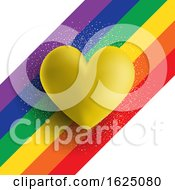 Poster, Art Print Of Gold 3d Heart On A Rainbow Striped Background