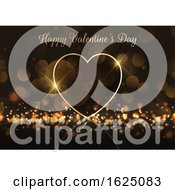 Poster, Art Print Of Valentines Day Background With Gold Heart On Bokeh Lights