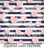 Poster, Art Print Of Pink Hearts On A Striped Background
