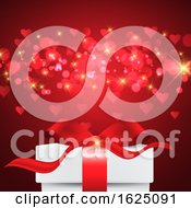 Poster, Art Print Of Valentines Day Background With Gift Box On Bokeh Lights