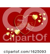 Valentines Day Background With Gold Hearts