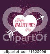 Valentines Day Background With Heart And Arrow On Confetti