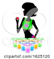 Girl Glowing In The Dark Beer Pong Illustration