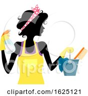 Girl Silhouette Spring Cleaning Illustration
