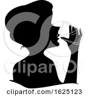 Girl Silhouette Drink Water Glass Illustration