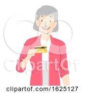 Senior Woman Bank Card Illustration