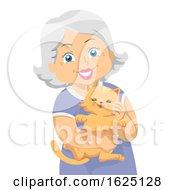 Senior Woman Carry Cat Pet Illustration