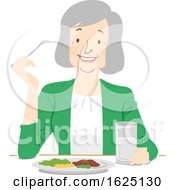 Poster, Art Print Of Senior Woman Eat Healthy Illustration