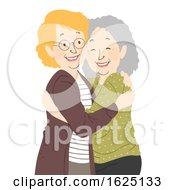Senior Woman Hug Illustration