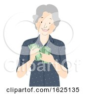 Senior Woman Money Illustration