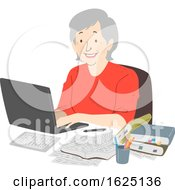 Senior Woman Writer Laptop Notes Illustration
