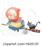 Senior Woman Sweden Easter Witch Illustration