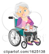 Senior Woman Service Cat Wheelchair Illustration