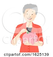 Senior Woman Saves Piggy Bank Illustration
