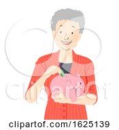 Senior Woman Saves Piggy Bank Illustration