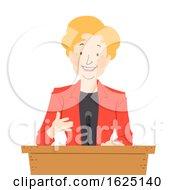 Poster, Art Print Of Senior Woman Podium Speech Illustration