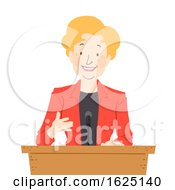 Senior Woman Podium Speech Illustration
