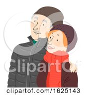 Senior Couple Winter Illustration