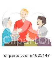 Poster, Art Print Of Seniors Citizen Group Talk Illustration