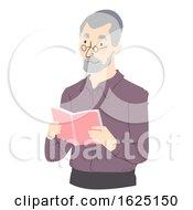 Senior Man Read Book Illustration