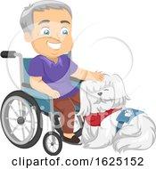 Senior Man Wheelchair Service Dog Illustration
