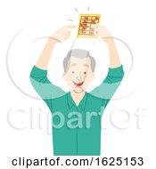 Senior Man Win Card Game Illustration