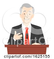 Senior Man Podium Speech Illustration